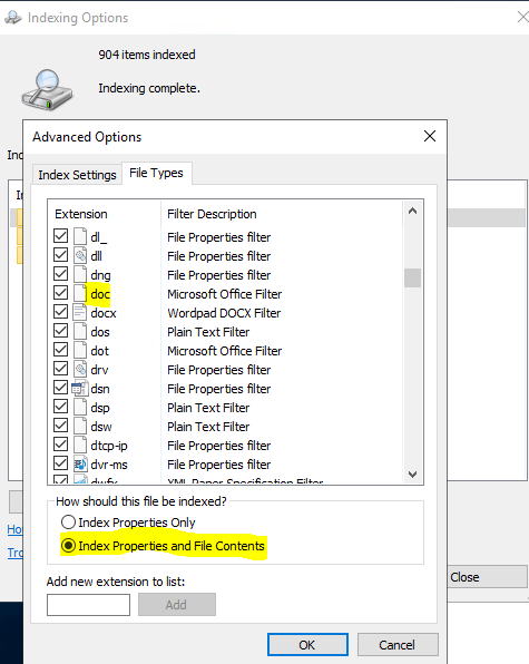Windows Search on Fileserver 2019 does not find all documents