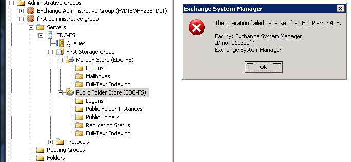 HTTP error 405 - ID no: c1030af4