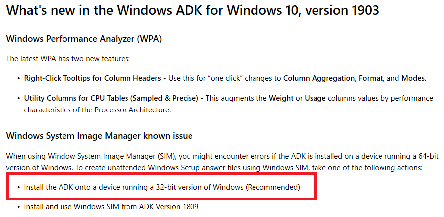 Windows 10 1903 SIM tool in ADK (10 1 18362 1) fails to