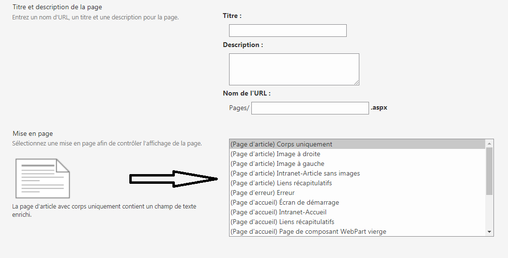 page template list availaible in my original site collection.