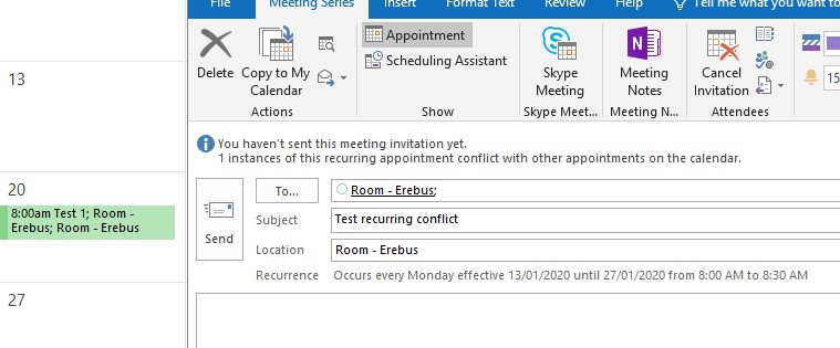 Conflictng meetings happen even though AllowConflicts = False