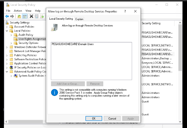 unable to rdp to Windows 10 -getting the system