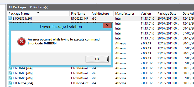WDS - Error to delete package driver