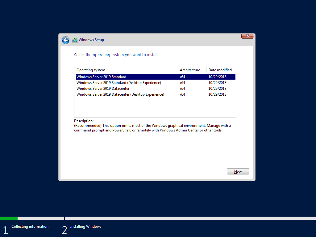 How should I install Hyper-V Server 2019 core?
