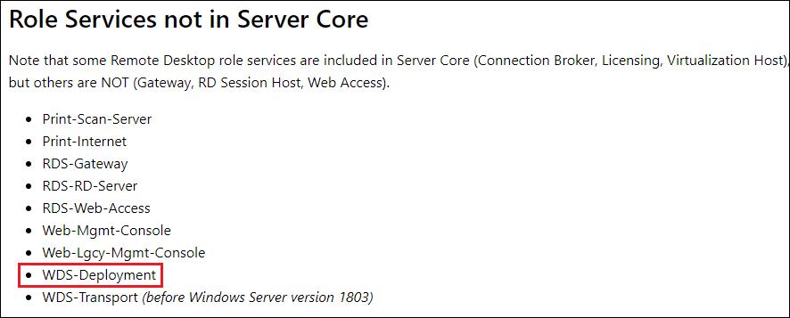 WDS Server Core