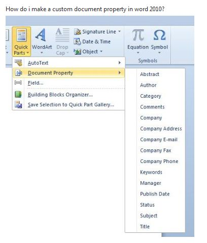 custom document property in word  hi