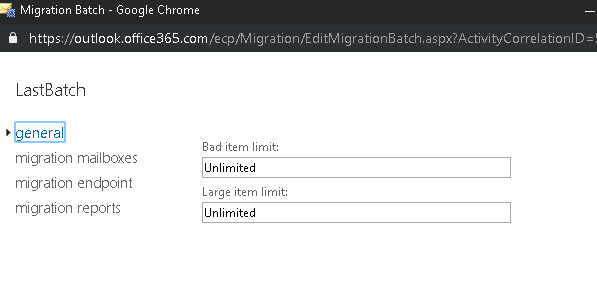 IMAP Migration Batch failed from Zimbra to Office 365