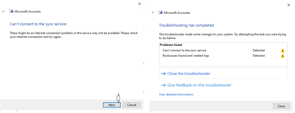 ms accounts troubleshooter