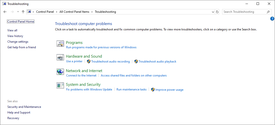 control panel none ms account troubleshooter