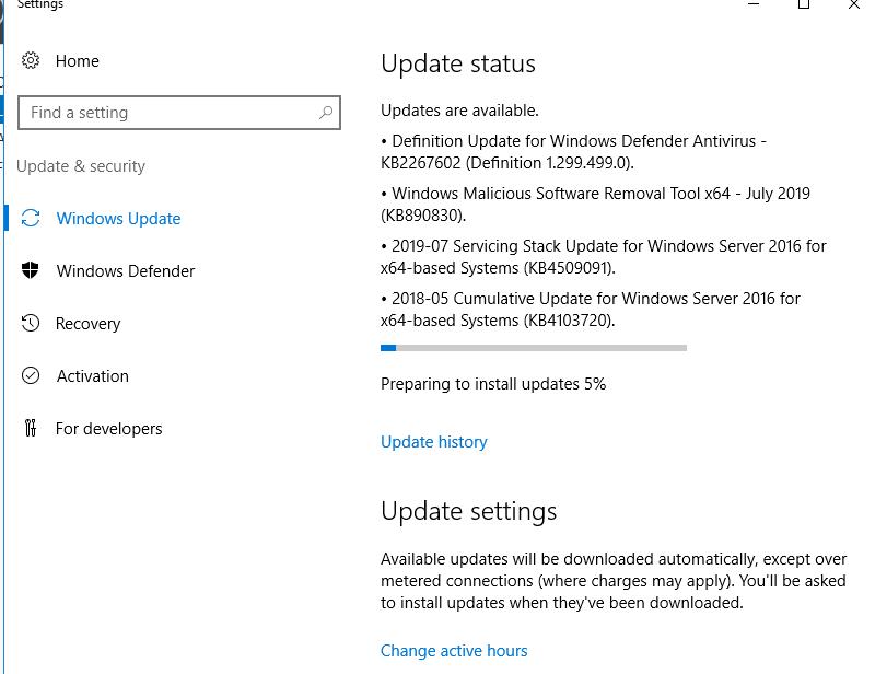 Windows Update KB4507460 stops progressing / hangs at 9% or 95% of