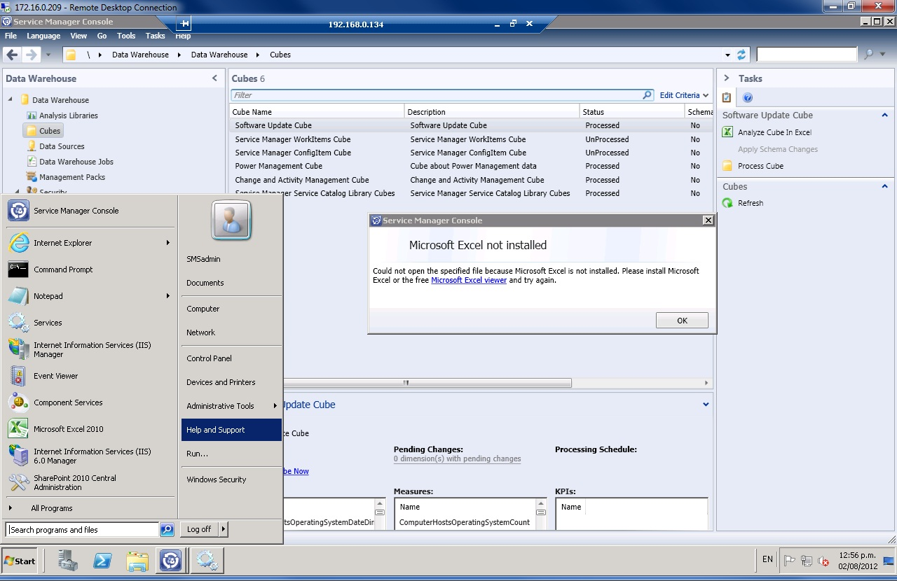 Microsoft excel is not installed system center service for Consol service
