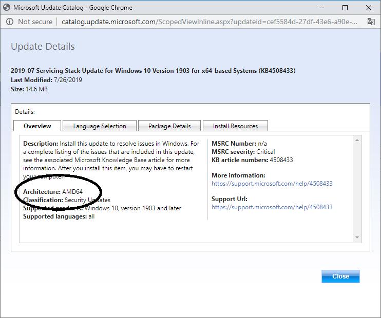 Windows 10 OS build 18362 267 (KB 4505903)
