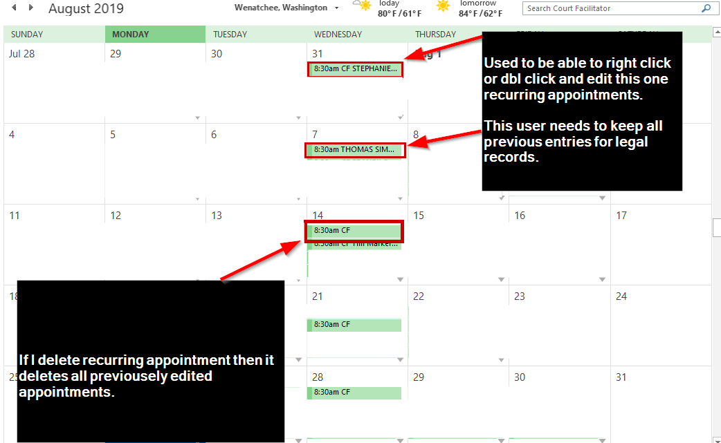 Calendar - Can't edit just one recurring appointment at a time