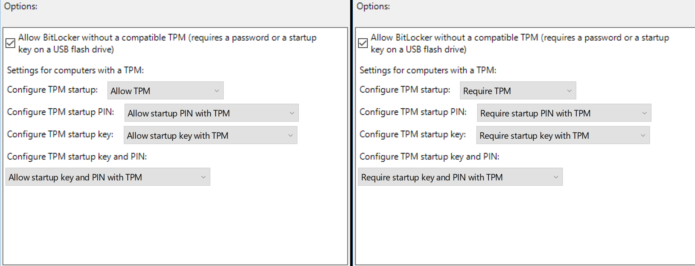 BitLocker TPM Allow Require Difference Group Policy