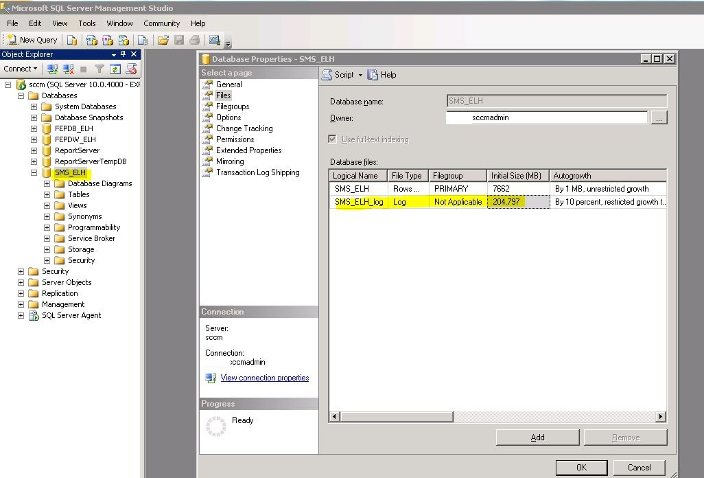 how to create a database log file