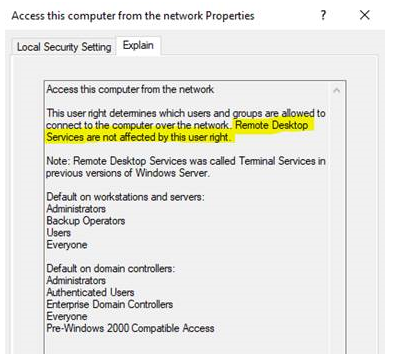 Access this computer from the network