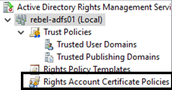 Rights Account Certificate Policies