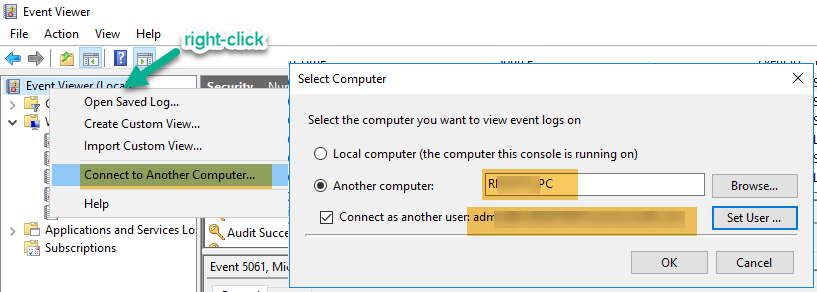 Connect Remote PC Event Log