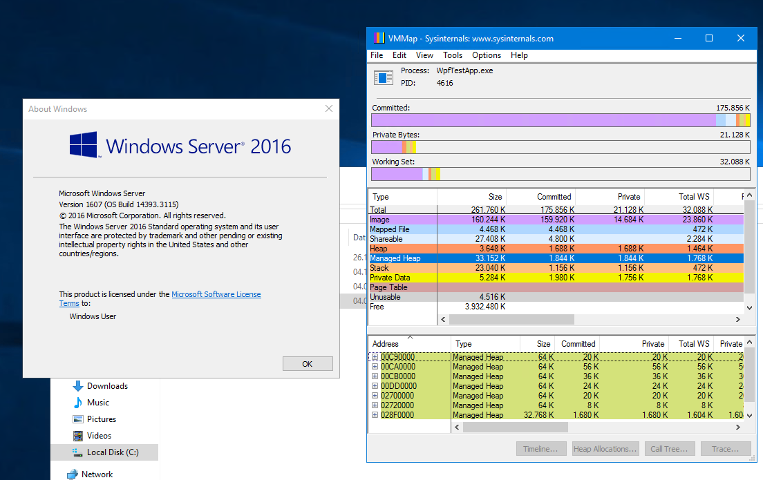 VMMap Managed Heap Working on Win Server 2016