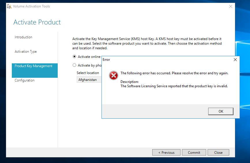 ao tentar inserir o serial do office2019 está ocorrendo o erro acima. Já entrei em contato com a Microsoft e nos informaram que o serial está correto.