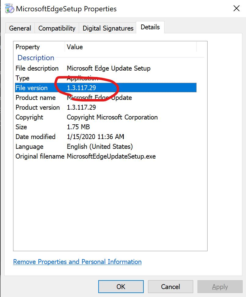 Edge Installer Version