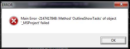 OutlineShowTasks Error