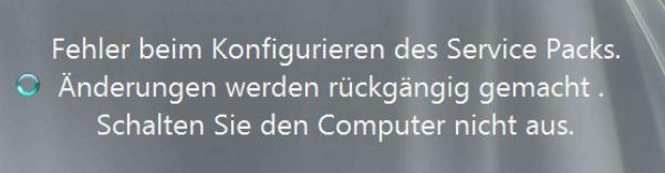 Fehler beim Konfigurieren des Service Packs SBS 2011