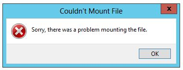 Windows 8 ISO mounting error: Sorry, there was a problem mounting the file