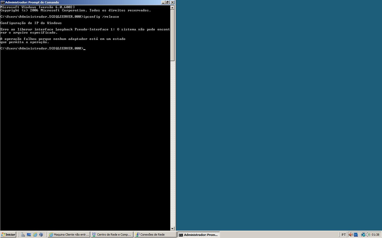 Atualizando o DHCP com os comando /release e renew