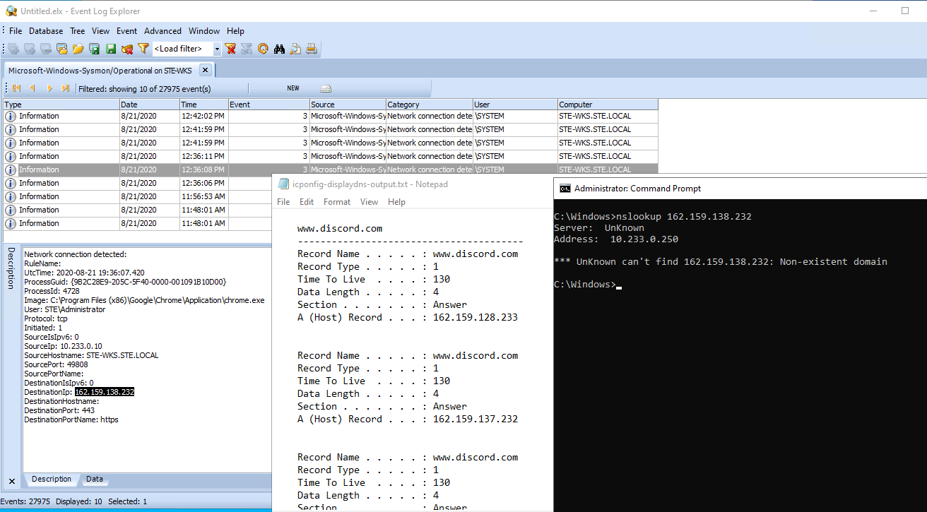 Capture of chrome to discord eventlogs vs DNS cache