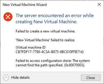 Failed to access configuration store 0x80070003