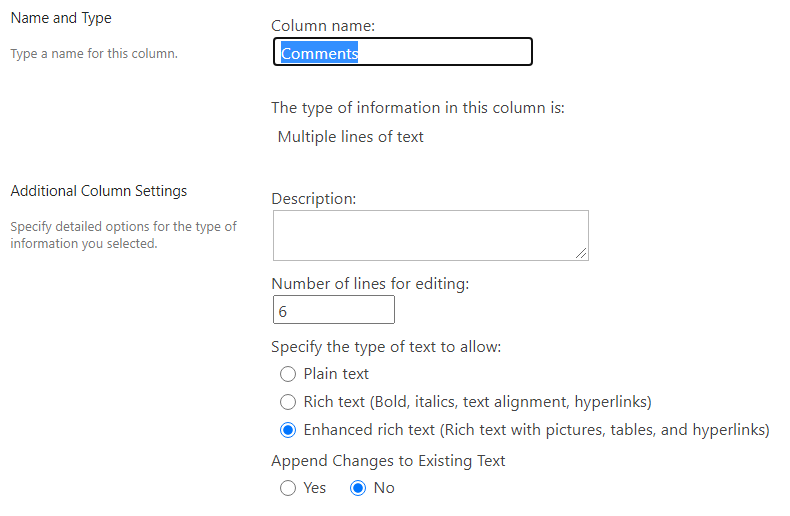 No change in enhanced rich text field