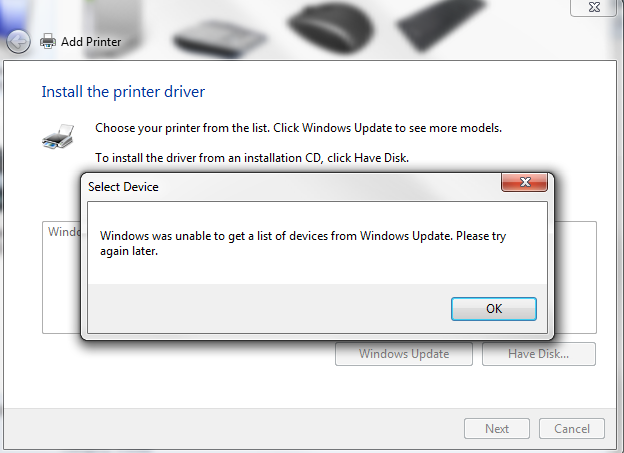 Re Unable to Update the Printer List in Windows 7