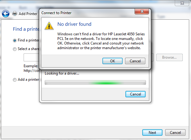 Windows Unable To Get Driver For Network Printer