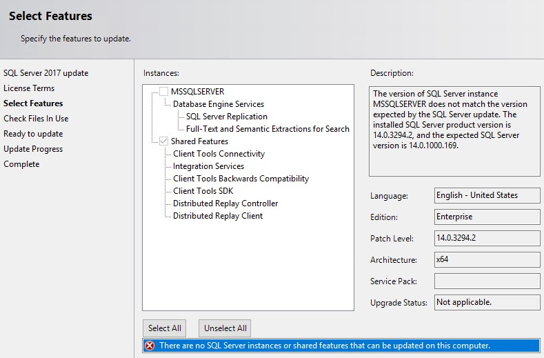 There are no SQL Server instances or shared features that ...