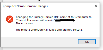 Error after system is joined