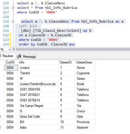 query + tabella