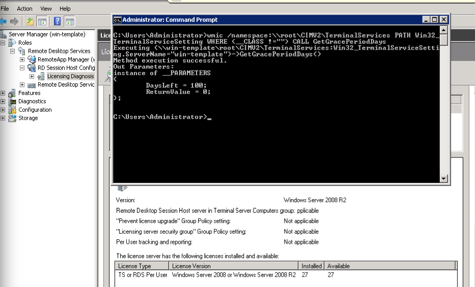 Windows terminal server licensing not applicable for