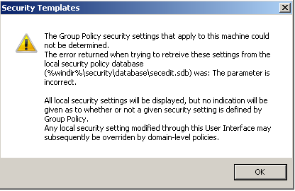 local security policy is not applied red circle