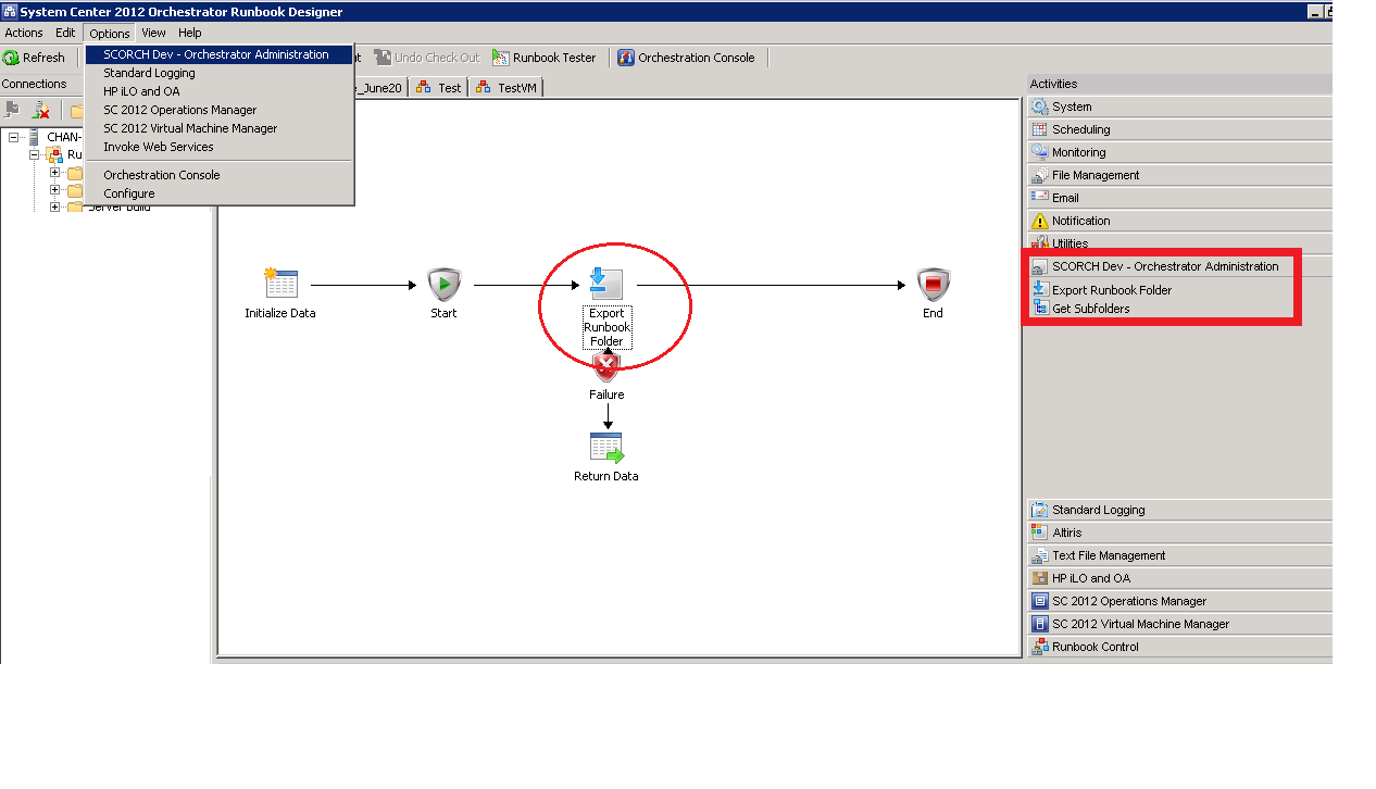 Exporting of Runbooks in Orchestrator using SCORCH