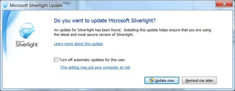 opdatere silverlight