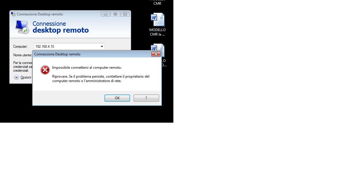 Errore che genere il desktop remoto su un pc con win7 che tenta di collegarsi ad un server esterno tramite vpn