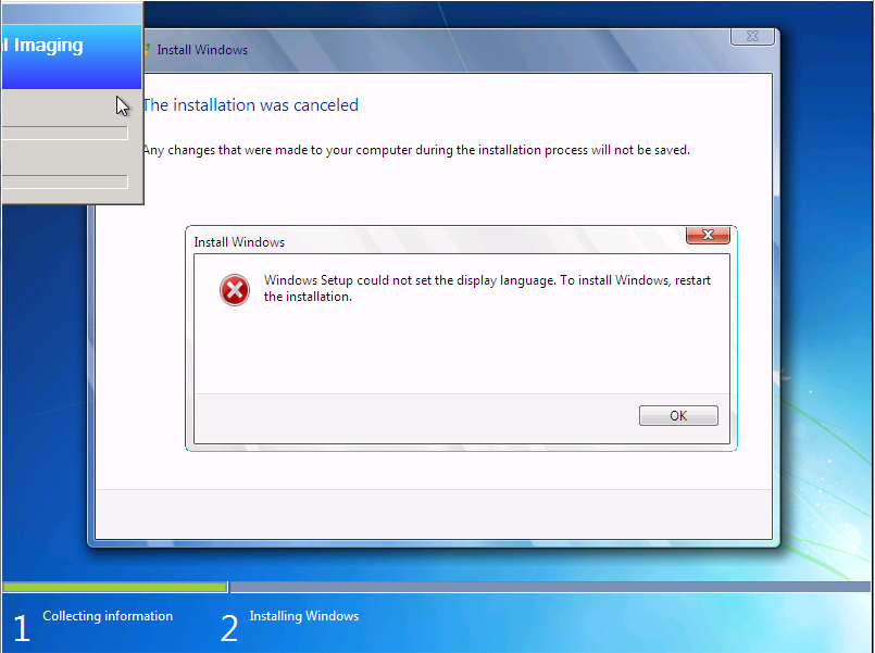 Windows Setup could not set the display language. To install Windows, restart the installation.