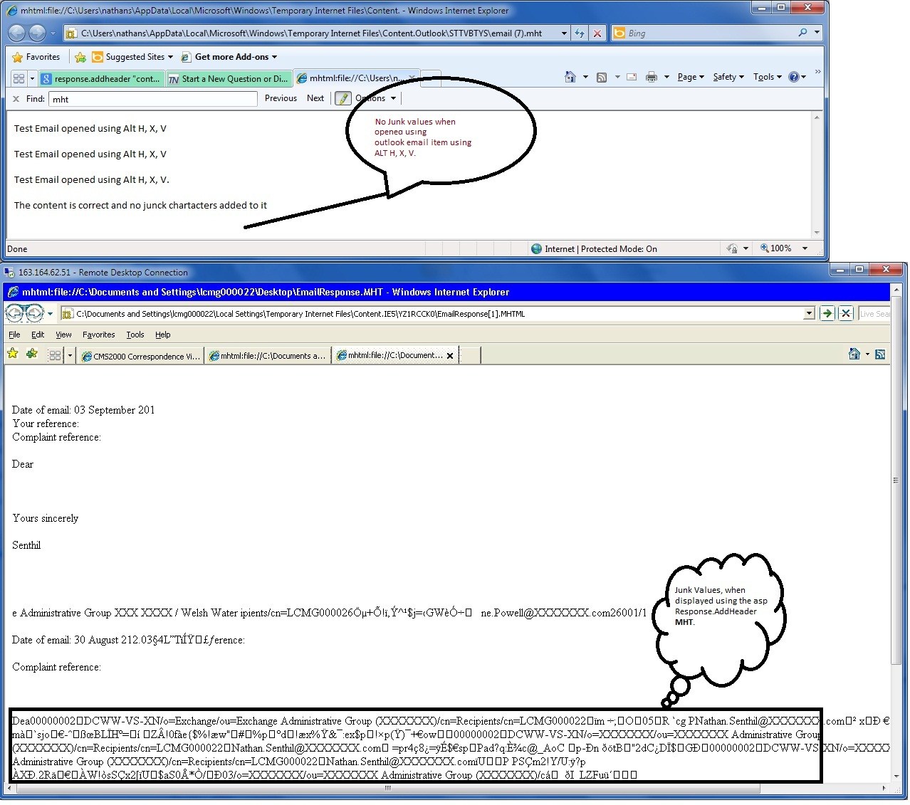 Displaying an email from g file using mht response header image of the email item opened in different ways ccuart Choice Image