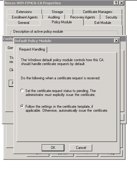 Add a certificate template to a request using certreq the administrator must explicity issue the certificate and click ok button the option always gets reset back to the other option as you see in the yelopaper Choice Image