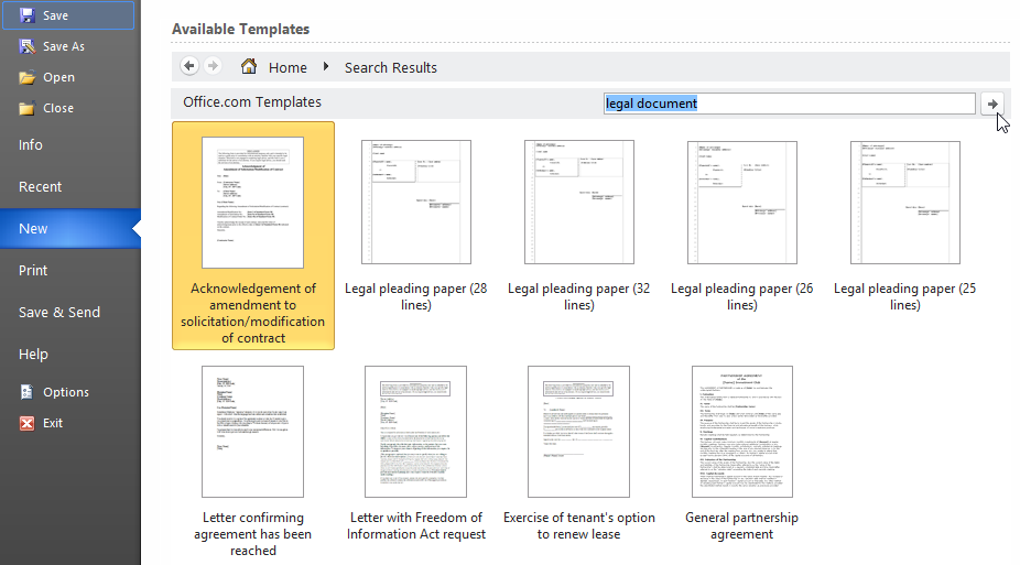 legal document templates for Word 2010 – Word Legal Templates