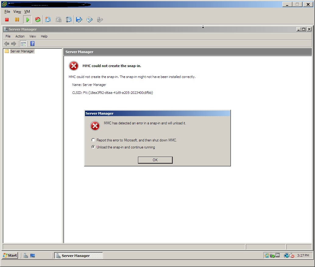 MMC could not create the snap-in Server 2008 Enterprise