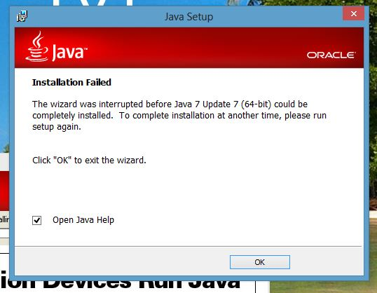 Java runtime on windows 8 RTM