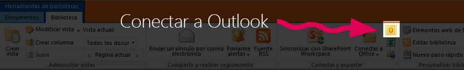 SharePoint 2010 conectar libredía de documentos a outlook