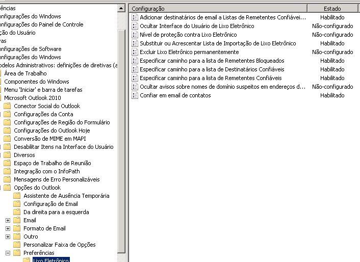 Modelo ADMX do Outlook 2010